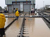 הצפות בתחנת חיפה מרכז השמונה / צילום: רכבת ישראל