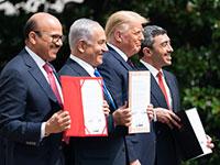 """חתימת """"הסכמי אברהם"""" / צילום: Yonhap News Agency / via Latin America News Agency, רויטרס"""