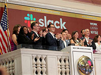 הנפקת סלאק בבורסה בניו יורק / צילום: Brendan McDermid, רויטרס