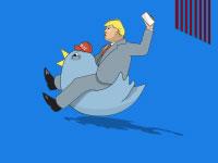 מכונת הציוצים של טראמפ / איור: איל אונגר, גלובס