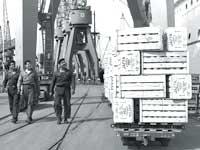 """נמל חיפה בשנות ה־60 / צילום: פריץ כהן, לע""""מ"""
