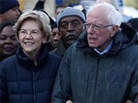 הסנטורים הדמוקרטיים ברני סנדרס ואליזבת וורן / צילום: RANDALL HILL, רויטרס