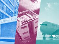 מימין: מטוס של אל על, אוריין ומלון הרודס של פתאל / צילומים: סיון פרג' ומצגות חברות. עיבוד: טלי בוגדנובסקי