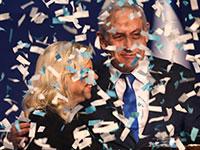 בנימין נתניהו עם אשתו, שרה, במטה הליכוד, לאחר פרסום תוצאות המדגמים, אמש / צילום: Oded Balilty, Associated Press