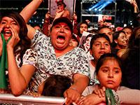 מחאת נשים נגד האלימות במקסיקו סיטי, אתמול  / צילום: Rebecca Blackwel, Associated Press