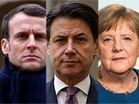 אורסולה פון דר ליין, ג'וזפה קונטה, סבסטיאן קורץ, עמנואל מקרון, אנגלה מרקל  / צילום: Associated Press