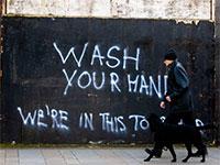 גרפיטי בלונדון על המצב בצל הקורונה / צילום: Liam McBurney, Associated Press