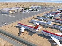 """מתקן לאומי לחניית מטוסים בסמוך לשדה התעופה """"עובדה"""" שבנגב / הדמיה: אייר פארק"""