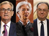 """נגיד הבנק המרכזי של בריטניה, אנדרו ביילי, נשיאת הבנק המרכזי האירופי, כריסטין לגארד, יו""""ר הפדרל רזרב, ג'רום פאוול / צילום: Associated Press"""