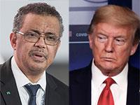 "דונלד טראמפ, נשיא ארה""ב וטדרוס אדהנום גברייזוס, יו""ר ארגון הבריאות העולמי / צילום: Associated Press"