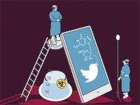 הווירוס שהעביר את המדע לטוויטר / איור: איל אונגר, גלובס