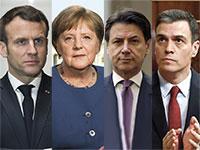 """רה""""מ ספרד, פדרו סנצ'ז, רה""""מ איטליה, ג'וזפה קונטה, נשיא צרפת, עמנואל מקרון, קנצלרית גרמניה, אנגלה מרקל / צילום: Associated Press"""