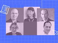 """מימין למעלה: ד""""ר תומר סיימון, פרופ' דפנה קריב, רן בר סלע, ד""""ר אייל בנימין, ד""""ר מירי מזרחי ראובן / צילום: יח""""צ"""