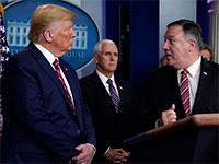 מזכיר המדינה פומפאו (מימין) והנשיא טראמפ (משמאל) בתדרוך בבית הלבן / צילום: Evan Vucci, Associated Press