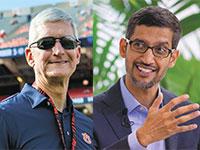 """מימין: מנכ""""ל אלפבית, סונדאר פיצ'אי ומנכ""""ל אפל טים קוק / צילום: Associated Press"""