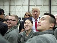 הנשיא דונלד טראמפ בבסיס האמריקאי ראמשטיין בגרמניה, 2018 / צילום: Andrew Harnik, Associated Press