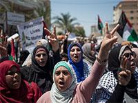 תושבות הגדה המערבית מפגינות נגד הסיפוח / צילום: Khalil Hamra, Associated Press