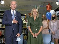 """ג'ו וג'יל ביידן ב""""ועידה"""" הדמוקרטית / צילום: Associated Press"""