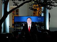 נאום פומפאו מירושלים, בבית הלבן / צילום: Evan Vucci, Associated Press