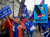 מתנגדי ברקזיט מוחים ברחוב דאונינג בלונדון /צילום: רויטרס, HENRY NICHOLLS