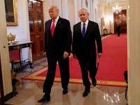 """ראש הממשלה בנימין נתניהו ונשיא ארה""""ב דונלד טראמפ בבית הלבן בעת ההכרזה על התוכנית /  צילום:רויטרס"""