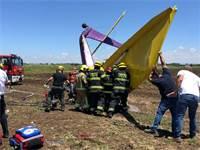 """זירת התרסקות מטוסו של שי בן יצחק ז""""ל / צילום: דוברות כבאות נתניה"""