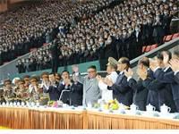 קים ג'ונג און בחגיגות 75 שנות קומוניזם בצפון קוריאה / צילום: KCNA v?a / Latin America News Agency, רויטרס