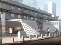 """תחנת הרכבת הקלה """"עפרה חזה"""" ברחוב אלנבי בתל אביב / הדמיה: נת""""ע"""