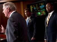 הסנאטור לינדזי גרהאם מדבר על תוכנית החילוץ האמריקאית / צילום: אנדרו הרניק, AP