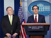 מזכיר המדינה, מייק פומפיאו ומזכיר האוצר, סטיבן מנוצ'ין / צילום: קווין לה-מרקי, רויטרס