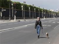 הקורונה בצרפת: אישה עם מסכת הגנה מטיילת עם כלבה בפריס השוממת / צילום: AP