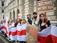 הפגנת תמיכה באזרחי בלארוס בלונדון / צילום: Victoria Jones, רויטרס