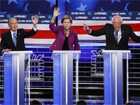 ברני סנדרס, אליזבת וורן ומייקל בלומברג בעימות הדמוקרטי  / צילום: John Locher, AP