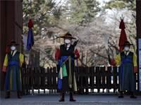 שומרים בדרום קוריאה לבושים מסיכת פנים / צילום: Lee Jin-man, AP