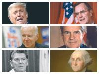הנשיאים בוש, טראמפ, ניקסון, המועמד ביידן, וושינגטון ורייגן / צילומים: John Redman ,Alex Brandon ,Patrick Semansky - AP, ויקימדיה