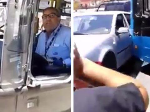 נהג אוטובוס בצ'ילה הודף מכונית פרטית / צילום: וידאו