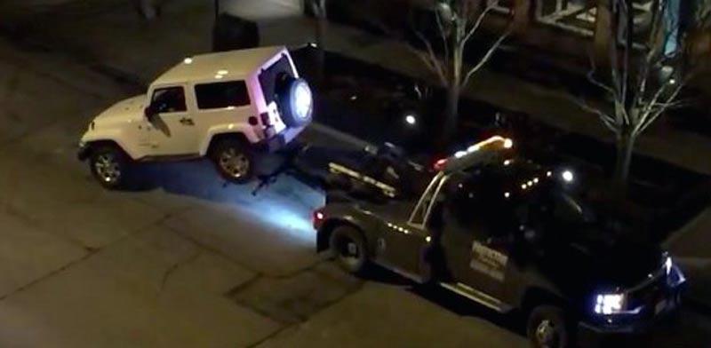 """ג'יפ בורח מגרר, שיקאגו, ארה""""ב / צילום: וידאו"""