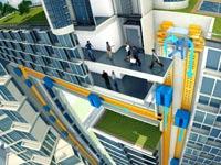 """מעלית ריחוף מגנטי אנכית multi elevator / צילום: יח""""צ : ThyssenKrupp"""