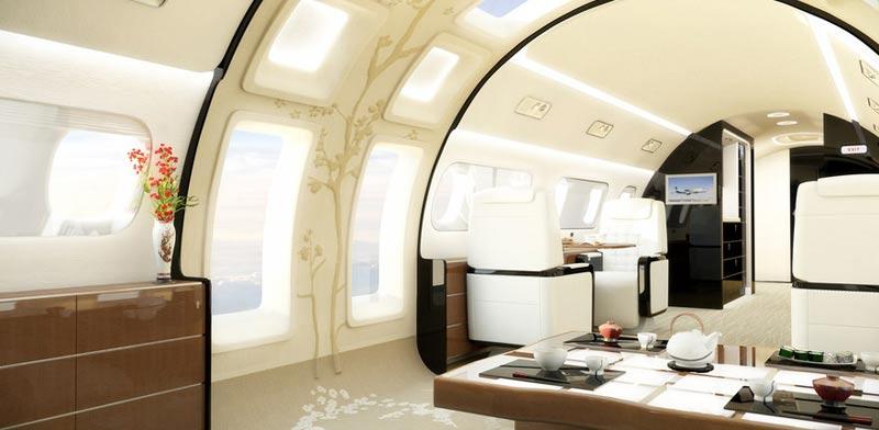 """מטוס סילון פרטי מפואר, חלל המטוס, אוליגרכים embraer-lineage-1000E / צילום: יח""""צ"""