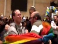 """מהומות בכנס של מפלגת הבית היהודי בחיפה, להט""""ב, זכויות אזרח / צילום: וידאו"""