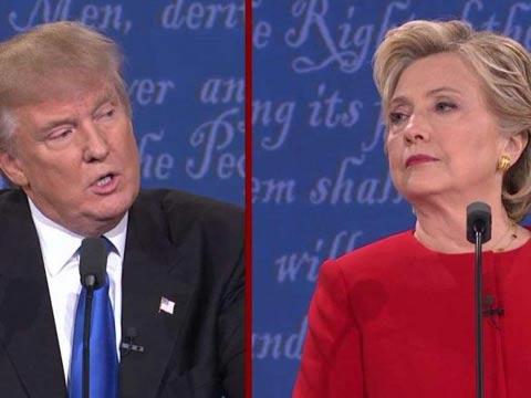 """הילארי קלינטון ודונלד טראמפ, עימות טלוויזיוני, המירוץ לנשיאות בארה""""ב / צילום: וידאו"""