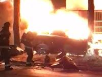 מכונית חשמלית של טסלה עולה באש / צילום: וידאו