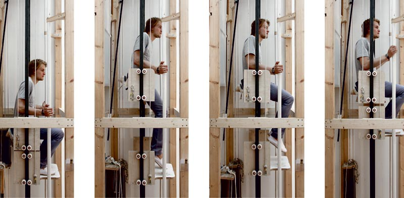 מעלית בהפעלה ידנית Vertical Walking Rombout / צילום: וידאו