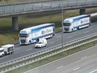 שיירת משאיות אוטונומיות/ צילום: מתוך הוידאו
