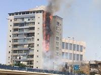"""שריפה בבנין בר""""ג / צילום: מהוידאו"""