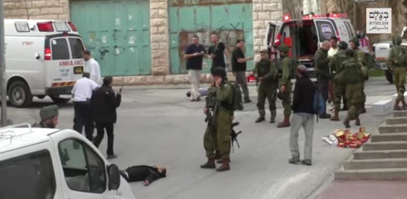 חייל מוציא להורג פלסטיני / צילום: מהוידאו