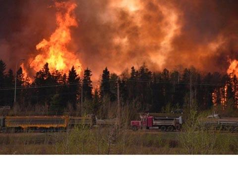 שריפת ענק בקנדה / צילום: מהוידאו