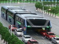 כלי תחבורה, אוטובוס חדשני, פתרון לפקקי תנועה, הונאה, סין TBS / צילום: וידאו