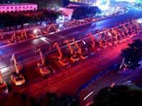 עבודות תשתית בסין, גשר עילי, דחפורים / צילום: CCTV