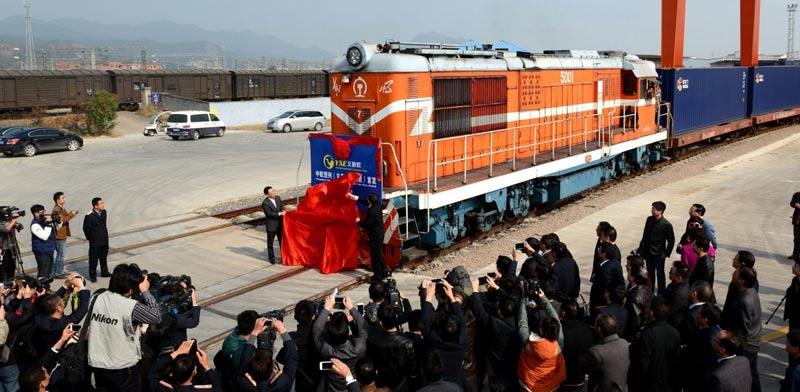 רכבת משא מסין לבריטניה, רכבות, תשתיות, סין China  freight train to Britain / צילום: וידאו